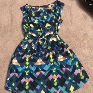 Multicolor patterned sleeveless dress